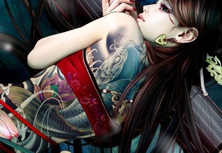 Tattooed Girl - tattoo, anime, female, girl