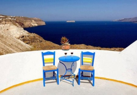 Welcome and enjoy! - day, sun, image, holiday, vacation, glasses, island, sea, pic, sunshine, summer, welcome, table, wine, greek, ship, picture, view, chairs, greece, photo, enjoy