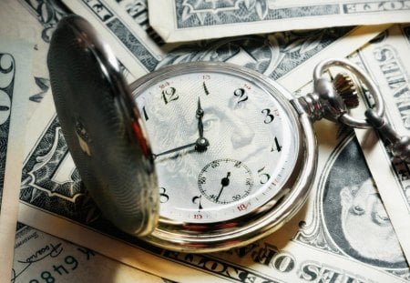 Money Time - bank, greenbacks, loss, stocks, clock, bills, george washington, tax, taxes, usa, vintage, spend, time, money, pocket watch