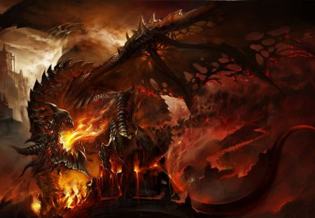 Red HOt Dragon - wings, fire, dungeon dragon, creature, dark, dragon