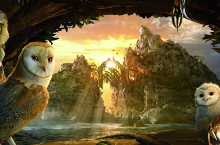 Owls - owls, landscape, sunrays, abstract, fantasy, cave, image
