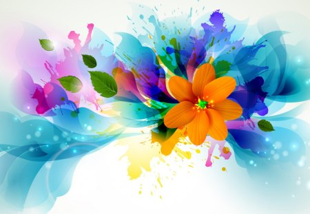Flower Splash - design, colour, graffiti, abstract, bright, flower, paint, orange, floral, leaves