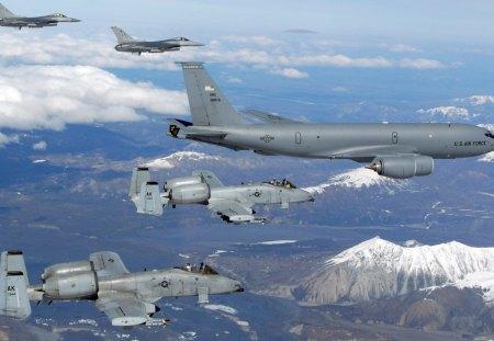 aeronaves militares - escolta, voando, militares, aeronaves