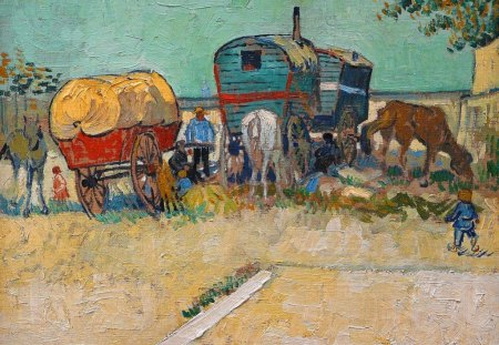 Vincent Van Gogh ~ The Caravans Gipsy Camp near Arles - painting, summer, abstract, artist, the caravans gipsy camp near arles, impressionist, vincent van gogh, art, horse