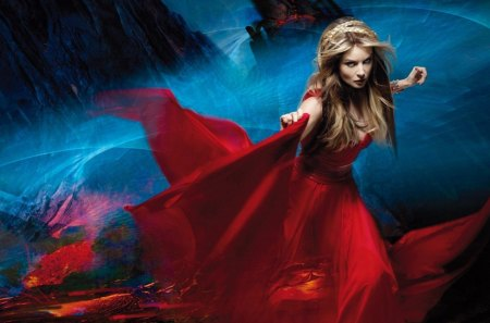 Sarah Brightman - red dress, blue, blonde hair, music, opera, actress, beauty, sarah brightman, woman, girl, singer