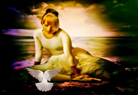 SOLICE - doves, peaceful, sky, water, dark, enchanting, lovely, fantasy, pretty, art, lady, beach