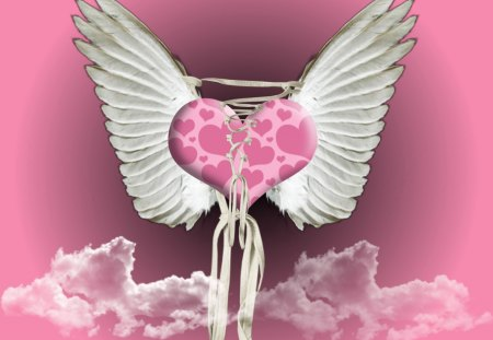 LOVE AND A PRAYER - pink, heart, wings, love, clouds