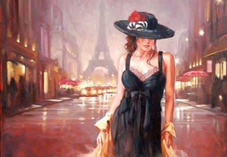Lady in Black - dress, woman, black, town