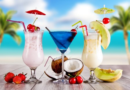 Tropical Cocktails - pretty, fruits, cherries, palm, cocktails, clouds, sweet, beauty, lovely, romance, holiday, ocean, coconut, sky, palms, glass, paradise, cherry, colorful, summer time, strawberry, glasses, beautiful, sea, photography, strawberries, cocktail, exotic, romantic, colors, summer, melon, nature, tropical