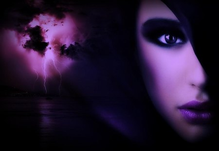 Even the weather gets shocked by her beauty - art, dream, fantasy, purple, woman, weather, thunder, girl, abstract, beutiful