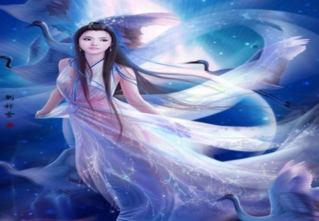 Flying on Moon - text, ribbon, sexy, egret, moon, full moon, night, female, black hair, cloud, sky, original, long hair, hot, cool, white dress, fantasy, chinese girl, flying on moon, smile