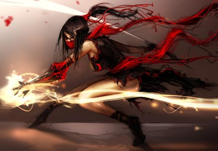 Aditya's Kunoichi - ai, gauntlet, eye patch, anime, anime girl, weapon, black hair, ninja, shinobi, female, kunoichi, cool, girl, lone, scarf, mask, red eyes