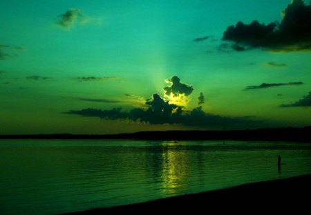 Green Sky - water, sunset, green, sky