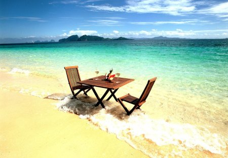Lounge on the Beach - dinner, image, rock, quietness, board, nice, stones, multicolor, surprise, table, quiet, waves, tranquil, white, snacks, brunch, beautiful, for us, lunch, sand, green, party, us, bottles, beije, blue, hotel, horizon, nature, oceans, yellow, surf, clouds, beautiful day, lounge, calm, beauty, coral reefs, islands, clear waters, celebration, sky, glass, water, cool, beaches, surface, waiting, awesome, photoshop, fullscreen, colorful, sea, picture, photography, chairs, amazing, photo, calmness, multi-coloured, view, clear, colors, isles, ripples, oceania, colours, natural