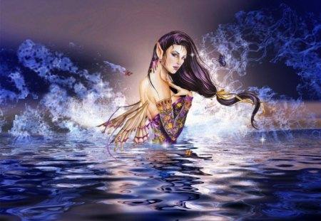 Fairy - fantasy, abstract, blue, fairy