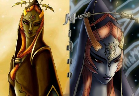 light and dark - princes, link, zelda, midna