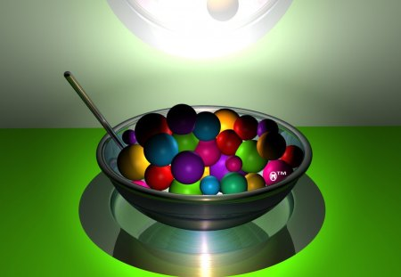 Rainbow cereal - rainbows, cereals, spoons, spheres, 3d, treats, green, lights