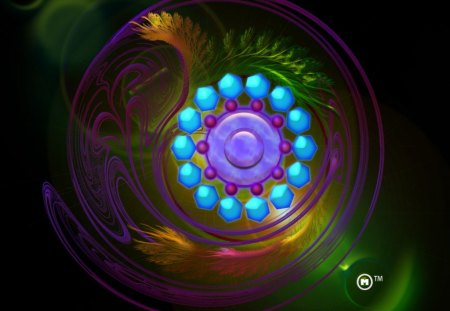 Magical Fractal Gem - gems, fractals, fantasy, gloss, magic, lens flares, glow