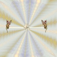 Two angels on colidiscope background