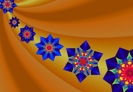 Here Come the Stars! - blue, golden yellow, gold, red, stars, kaleidoscope, multicolored, fractal patterns, co11ie