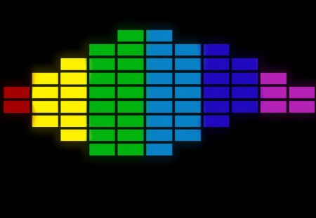 Coloured Equalizer - colour, equalizer, music, neon, black, glow