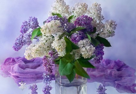 Still life - flowers, lilav, white, nice, vase, bouquet, beautiful, vail, lovely, purple, soft, still life, pretty, delicate, violet