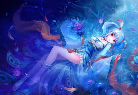 Fantasy girl - big eyes, lovely, art, blue, hair, girl, fantasy