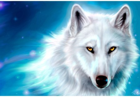 Yellow eyes - drawing, portrait, white, wolf
