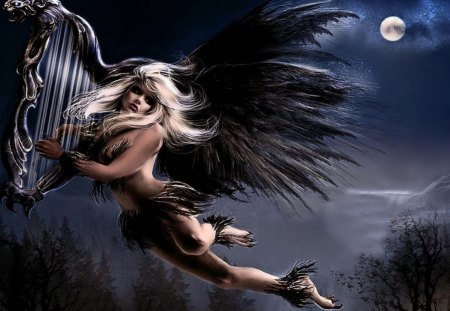 MUSIC ANGEL - moon, angel, music, aerosmith