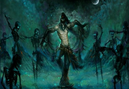 Dance Of The Dead - moon, dark magic, man, skeletons