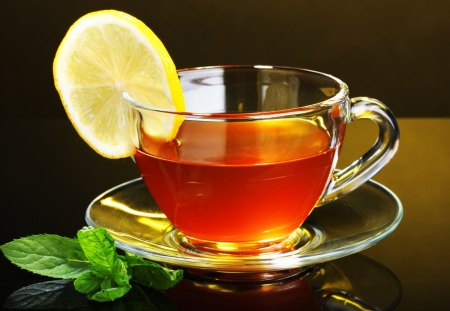 Cup of tea - cup of tea, cup, leaves, lemon, mint, tea time, place, tasty