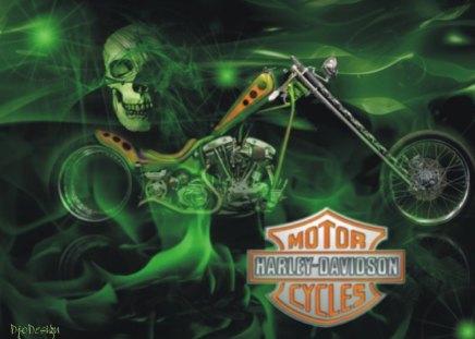Harley-Davidson green skull - logo, skull, motorcycle, harley, green, davidson
