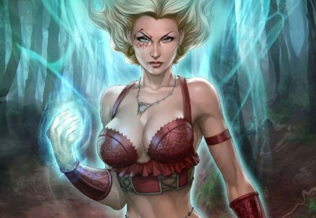 Salem's Daughter - stunning, cg, tattoo, breast, blonde, power, magic, sexy, fantasy, girl, hot, soul