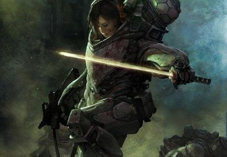 Shrapnel - cg, game, stunning, sword, shrapnel, fantasy, girl, adventure, rescue, soldier, action