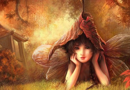 cute little forest fairy~ - wings, fantasy, fairy, elf, pretty, abstract, yellow