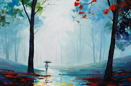 Lonely Walk into forest - painting, jungle, forest, man