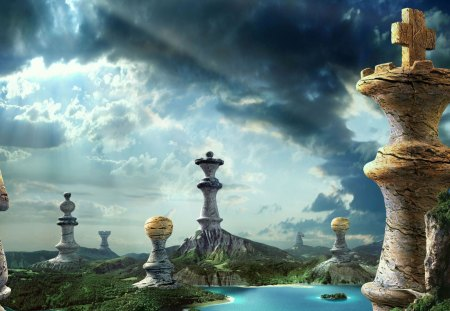 Space Fantasy - water, chess pieces, sunshine, clouds