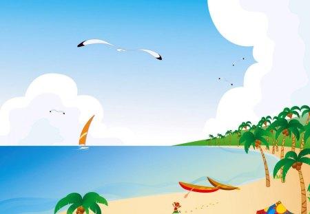 Summer - summer, abstract, sea, sailboat, boat