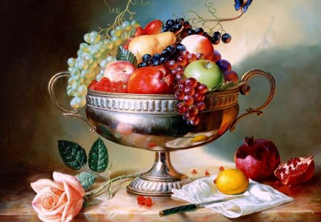 Still Life Paint - paint, still, life, fruits