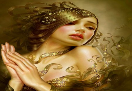 Sweet Innocence - beauty, fantasy, gold, girl