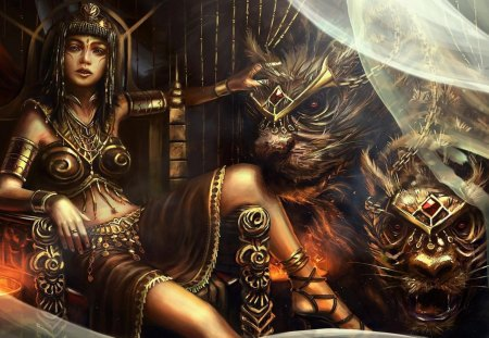 Queen Teefah And The Two-Headed Beast - hd, cg, monster, bryan sola, jewelry, ancient, queen, cat, curtain, carnivore, queen teefah, beauty, tattoo, fantasy, throne, beast, girl, pretty, teefah, wild, digital art