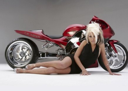 Eye Candy - tuned, bike, red, girl