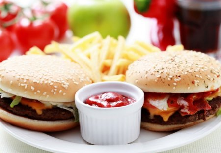 Burger-French Fries - french, burger, food, fries