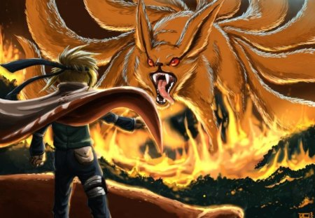 Minato vs Nine tail fox - Naruto & Anime Background