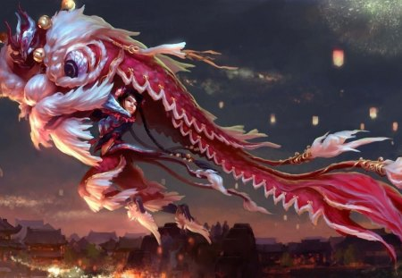 Chinese Tradition - cg, chinese, tradition, girl, dragon