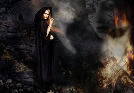 βℓαcκ Ѧαɢιc - fire, conjuring, witch, dark, photoshop, smoke, black magic, fantasy, woman, spirits, conjure, spell, daxe designs, summoning