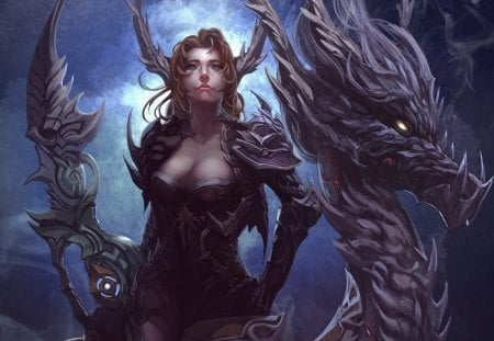 Warrior - fantasy, girl, women, dragon, warrior
