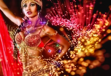 lady colroful - gorgeous, gold, india, pretty, woman, colors, women, lady, culture, red, beautiful