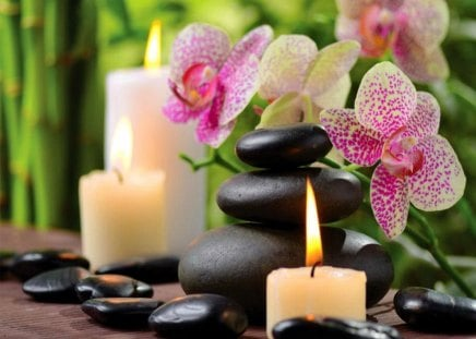 Spa beauty - fire, flowers, candles, relax, orchid, spa, nice, bamboo, beauty, beautiful, lovely, concept, content, stones, pretty, still life