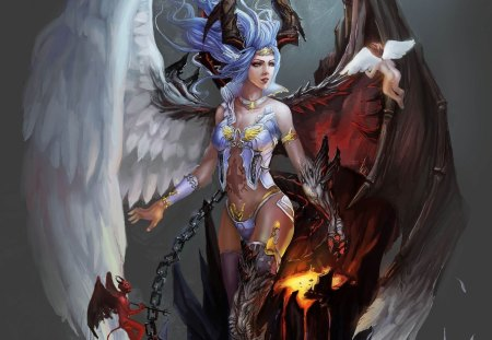 The level between heaven and hell - beauty, beautiful, lovely, queen, colors, girl, heaven hell, angel